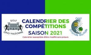 Calendrier des Compétitions 2021 - Open Golf Club